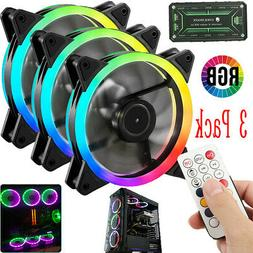 3 Pack RGB LED Quiet Computer Case PC Cooling Fan 120mm with