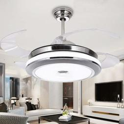 """36""""/42"""" Invisible Ceiling Fan Lamp Remote Control Dimmable L"""