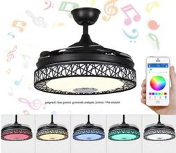 """42"""" Bluetooth Invisible Ceiling Fan Lamp 7-Color LED Chandel"""