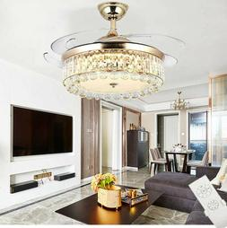 42 Chandelier Ceiling Fan Light Invisible Blade Crystal LED
