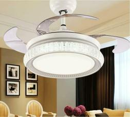 "42"" Crystal Ceiling Fans LED Light Remote Retractable Blades"