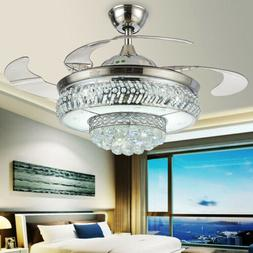42 crystal invisible ceiling fans remote retractable