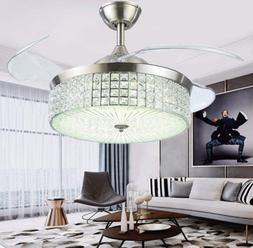 "42"" Invisible Crystal Ceiling Fans Light Chandeliers Remote"