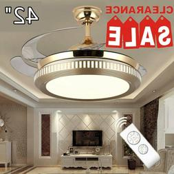 "42"" Retractable Ceiling Fan Light Lamp Remote Control Dimmab"