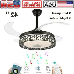 "42"" Reversal Ceiling Fan Light Bluetooth Modern Speaker LED"