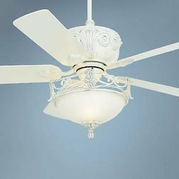 """52"""" Shabby Chic Ceiling Fan with Light LED Dimmable White Li"""
