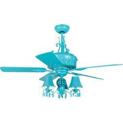 Craftmade ANT54TQ5WCR Antoinette 54 inch Turquoise Ceiling F