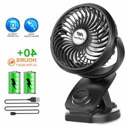 FlePow Battery Operated Clip on Stroller Fan - 40 Hours Port