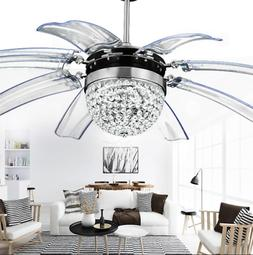 Modern Crystal Ceiling Fan Light LED Chandelier Remote Contr