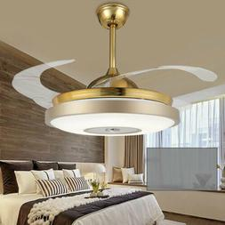 "Ceiling Fan Pendant Light Chandelier Gold 42"" LED Lamp Home"