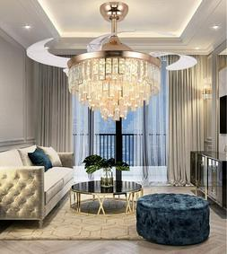 Crystal Retractable Ceiling Fans with Light LED Dimmable Cha