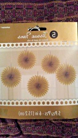 Amscan Gold tissue Fans 5 pc 6 inch hanging Party decoration