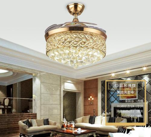 42 inch Crystal Ceiling with Light and Fans