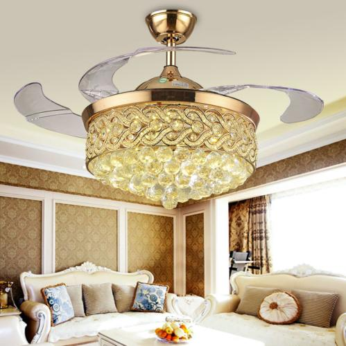 42 silver gold retractable ceiling fans crystal