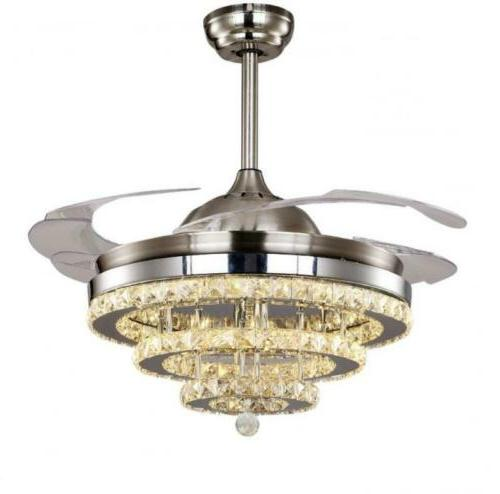 Modern Crystal Retractable Ceiling Fans Light