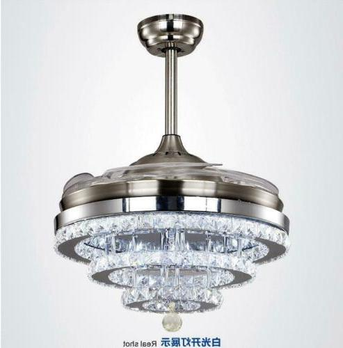 Modern Crystal Ceiling Fans Light and Remote