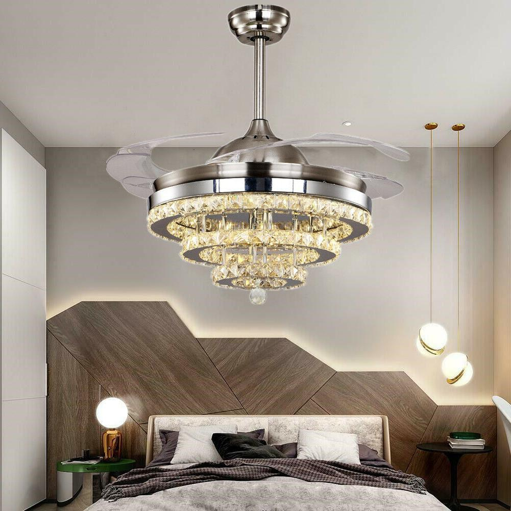 modern crystal retractable blades ceiling fans