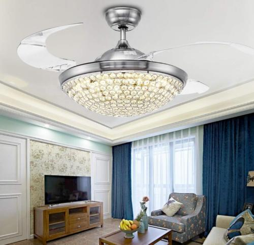 """42"""" Silver/Gold Ceiling Crystal Light"""