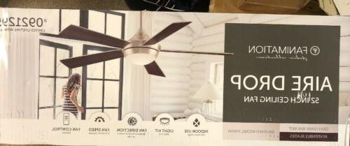 aire drop 52 ceiling fan brushed nickel