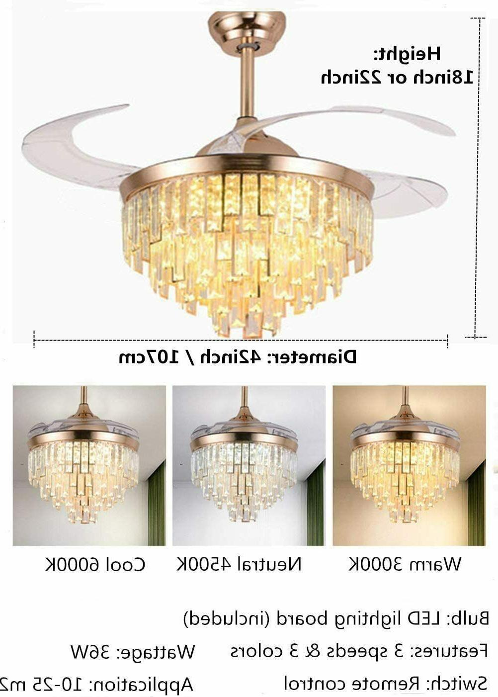 Crystal Fans with Light Chandelier Living Room