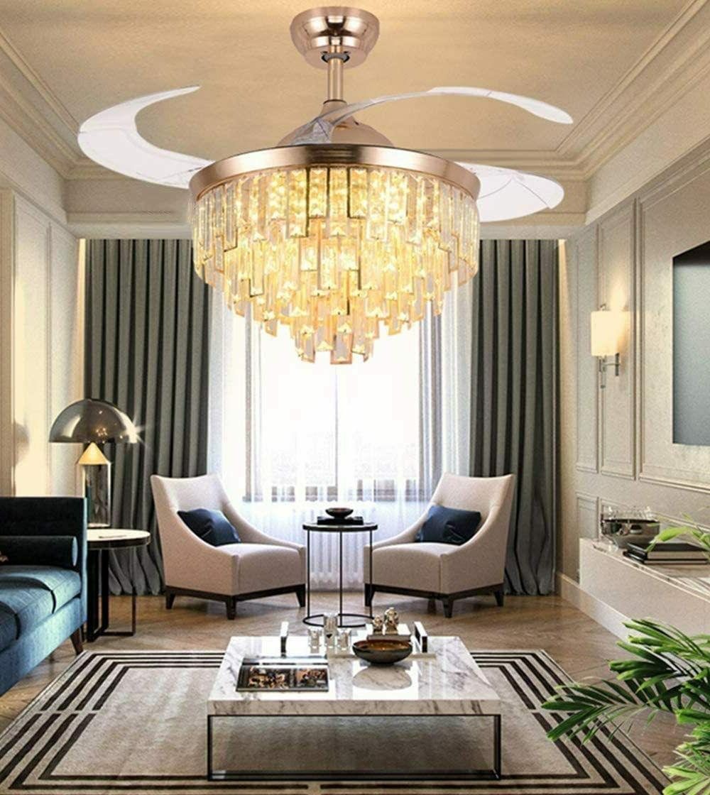 Crystal Retractable Ceiling Fans Chandelier