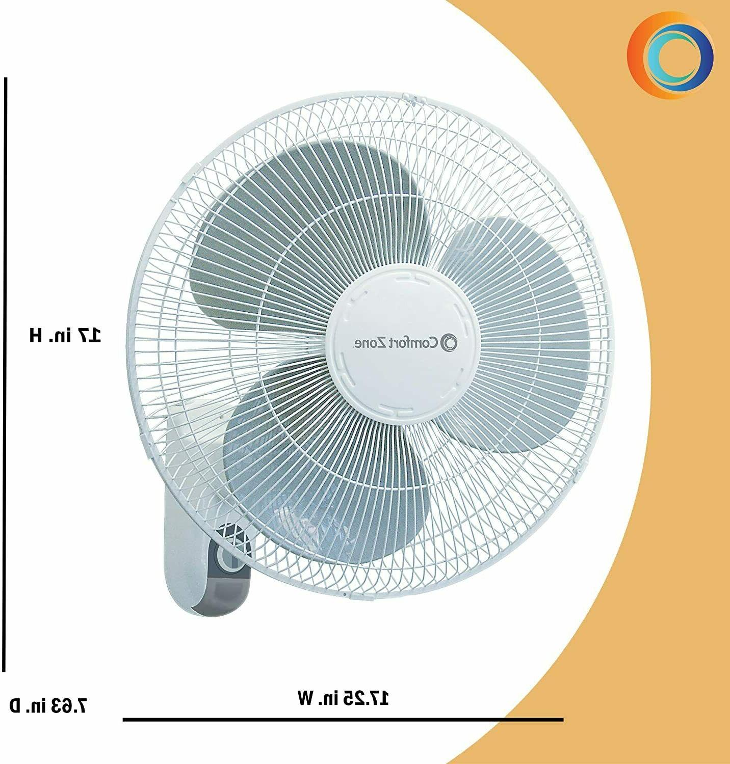 Comfort Zone Oscillating 16-inch Fan White with