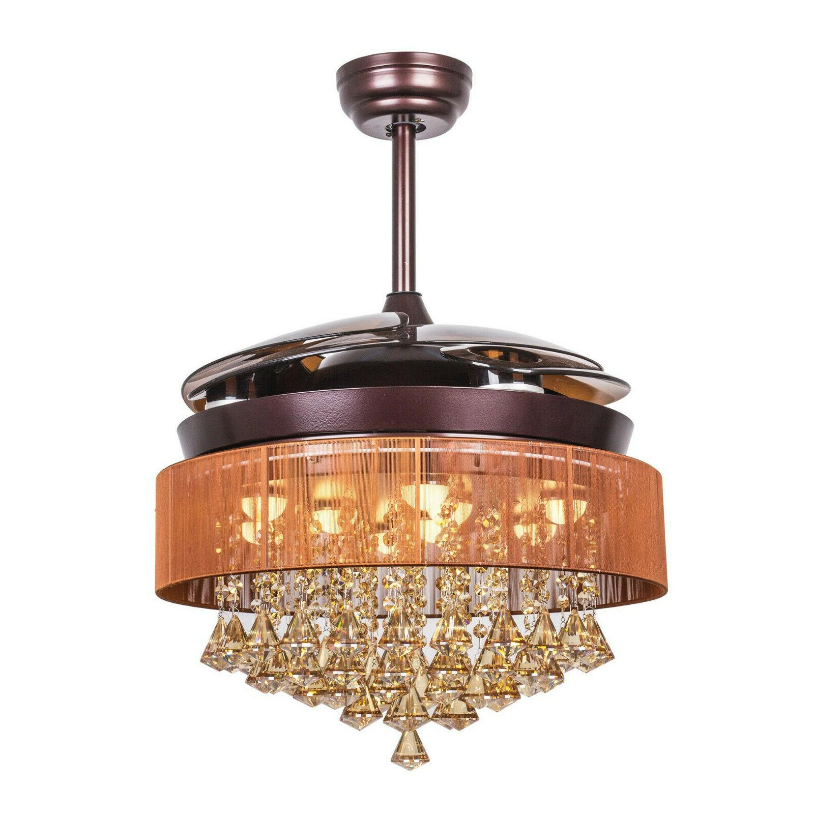 46 Crystal Chandelier Fan Remote Ceiling Fan W Led Lights Retractable Blades Mainlevel At