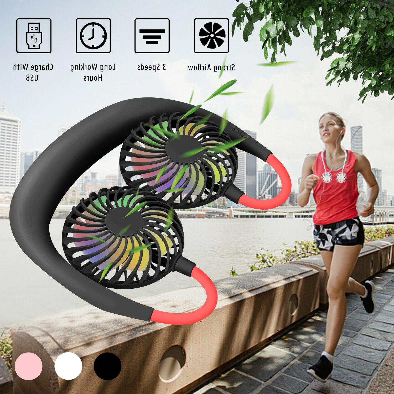 Sports LED Neckband Fan Wearable Portable Hand Free Personal