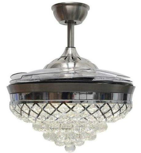Silver Remote Ceiling Fans LED Crystal