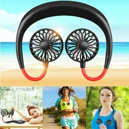 Portable USB Rechargeable Neckband Hanging Fan Sport Hand Fr