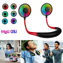 portable rechargeable neckband neck hanging fan hand