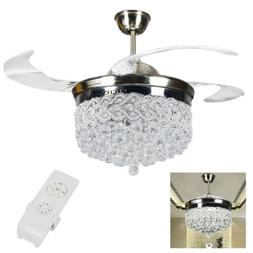 """Silver 42"""" Remote Retractable Ceiling Fans LED Light Crystal"""
