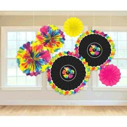 SUMMER Neon Paradise PAPER FANS  ~ Birthday Party Supplies D